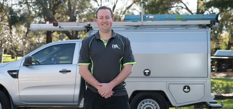 smart home installer checklist qualified installation technician standing infront of equiptment vehicle
